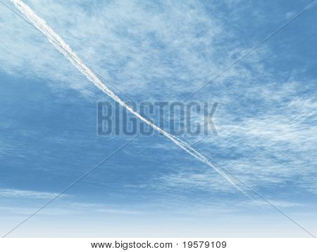 high resolution 3d blue sky background with white clouds and an airplane trace. Ideal for nature,health,sport or holiday designs