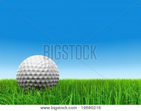 3d white golf ball in green grass on a clrear blue sky background, for sport, recreation, or golf play designs