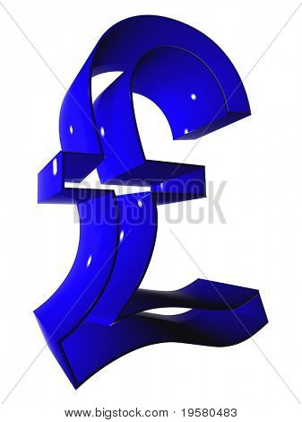 high resolution 3D blue pound symbol rendered at maximum quality ideal for web,business, or conceptual designs,isolated on white background