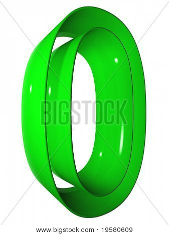 high resolution 3D green zero symbol rendered at maximum quality ideal for web,business, or conceptual designs,isolated on white background