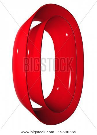 high resolution 3D red zero symbol rendered at maximum quality ideal for web,business, or conceptual designs,isolated on white background