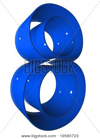 high resolution 3D blue eight symbol rendered at maximum quality ideal for web,business, or conceptual designs,isolated on white background