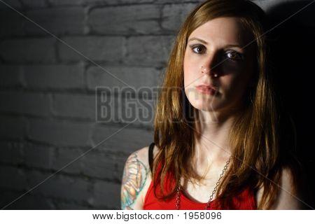 Serious Tattoo Girl