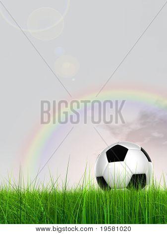 3D bola de futebol preto e branco de couro na grama verde sobre um fundo natural de céu azul com nuvens