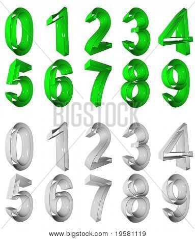high resolution 3D green and grey number symbols set or collection rendered at maximum quality ideal for web,business, or conceptual designs,isolated on white .The numbers are 0,1,2,3,4,5,6,7,8,9.