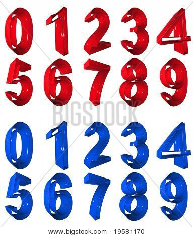 high resolution 3D red and blue number symbols set or collection rendered at maximum quality ideal for web,business, or conceptual designs,isolated on white background.