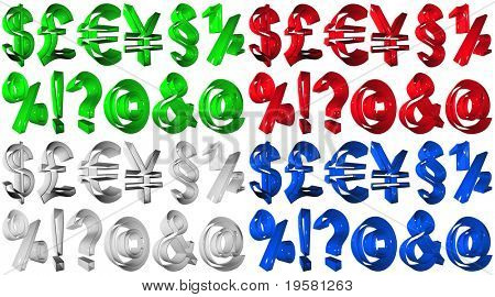high resolution 3D red, blue,green and grey symbols rendered at maximum quality ideal for web,business, or conceptual designs