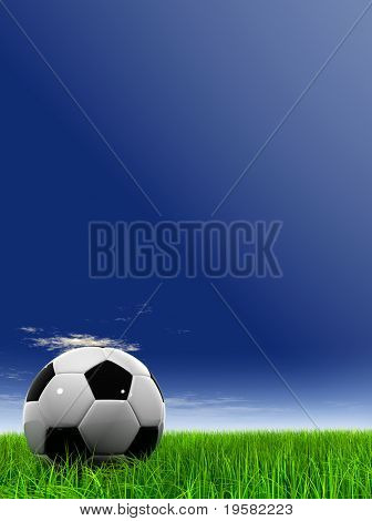 3d leather black and white soccer ball on green grass over a natural blue sky background with white clouds, ideal for sport and leisure designs