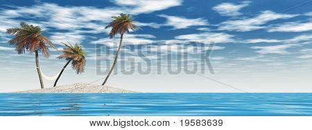 kleine isolierte Insel mit Palmen und Hängematte