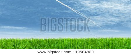 high resolution 3d green grass over a blue sky banner with white clouds as background and plane traces