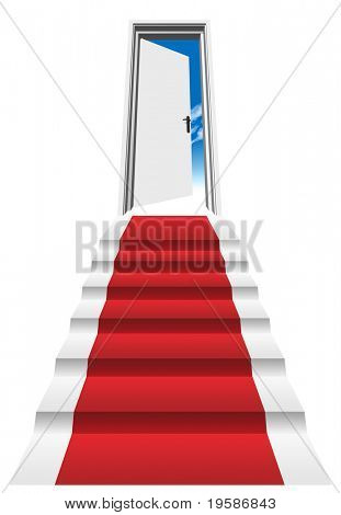 High resolution 3D red carpet on a stair in front of an opened door to a blue sky