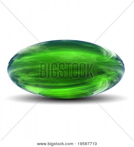 High resolution 3D green glass ovoid with shadow isolated on white, reflecting a sky with clouds
