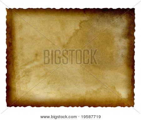 Fondo de grunge de papel viejo de alta resolución con un marco de quemado y espacio para texto o imagen, aislar