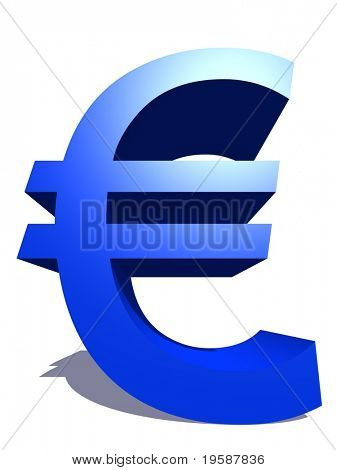 High resolution 3D blue euro symbol rendered at maximum quality ideal for web,business, or conceptual designs,isolated on white background