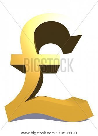 High resolution 3D yellow pound symbol rendered at maximum quality ideal for web,business, or conceptual designs,isolated on white background