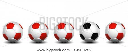 High resolution white and red 3D conceptual soccer balls row with one white and black ball standing out of the crowd, isolated on white