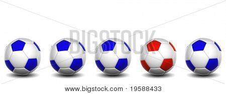 High resolution white and blue 3D conceptual soccer balls row with one red and white ball standing out of the crowd, isolated on white