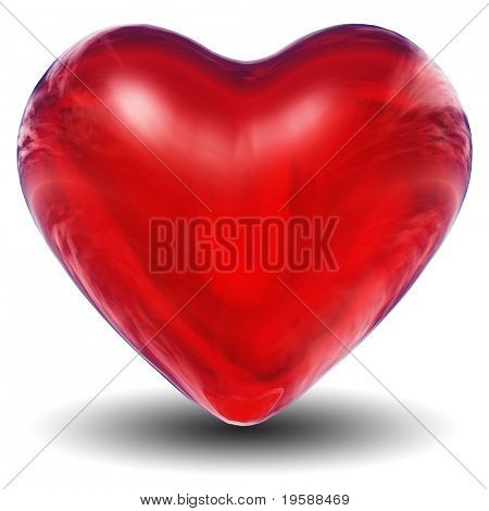 High resolution 3D red heart isolated on white background, ideal for holiday, valentine, love, wedding or medical designs