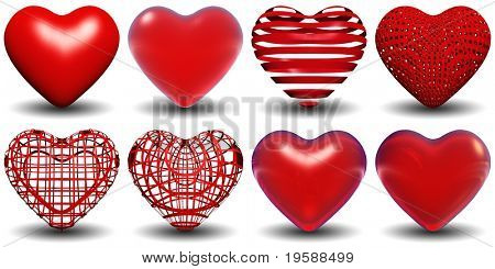 High resolution 3D red hearts isolated on white background, ideal for holiday, valentine, love, wedding or medical designs