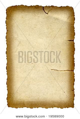 High resolution old paper grunge background with a burned frame and space for text or image, isolated on white