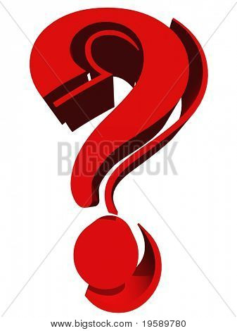 High resolution 3D question mark isolated on white background