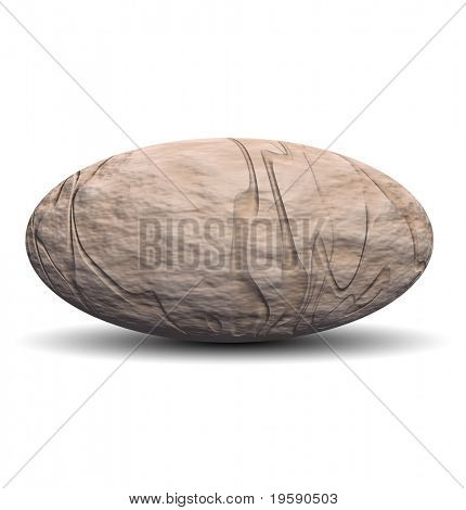 High resolution 3D rock ovoid isolated on white ideal as a web button