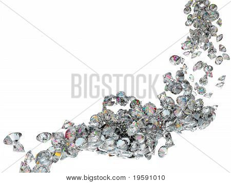 Large Diamonds Or Gems Flow Isolated