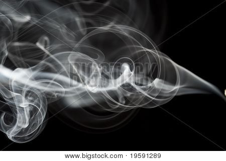Abstract Black Smoke Swirls On Black