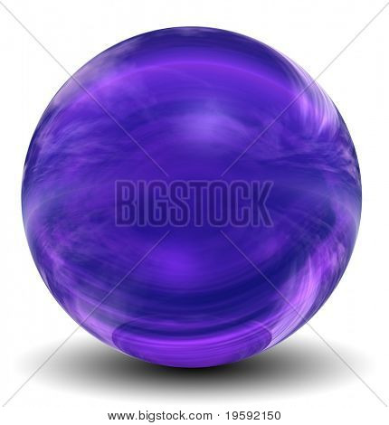 High resolution 3D violet glass sphere isolated on white ideal as a web button
