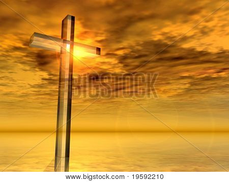 High resolution Christian cross over a beautiful sky at sunset