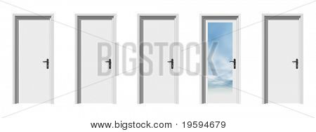 High resolution conceptual 3d doors in a row with one different, ideal for conceptual designs