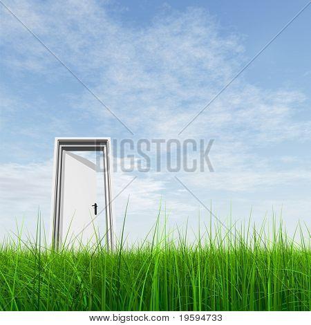 Puerta blanca 3D de alta resolución abrió en pasto a un fondo bonito cielo con nubes blancas