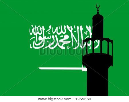 Minaret With Saudi Arabian Flag