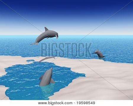 High resolution conceptual image with dolphins jumping from a small pound into the sea