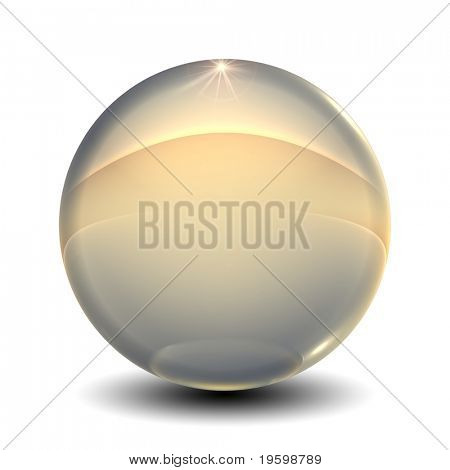 High resolution 3D glass sphere isolated on white ideal as a web button