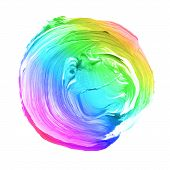 Rainbow Textured Acrylic Circle. Watercolour Stain On White Background. poster