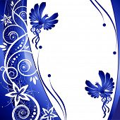 Bird. kerb decorated with blue patterns of flowers leaves spirals isolated on a white background JPG
