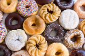 stock photo of donut  - lots of donuts  - JPG