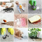 Different types of dirt on carpet. Cleaning concept poster