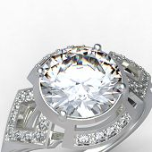 pic of diamond ring  - 3d rendering of a diamond ring on white bacground - JPG