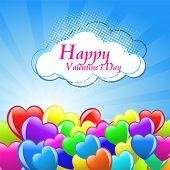 Bunch of colorful  cartoon heart balloons on blue sky background poster