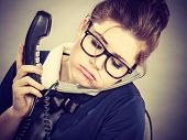 Sleepy Business Woman In Office Working poster