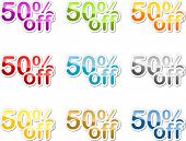 Fifty percent off sales reduction marketing announcement sticker