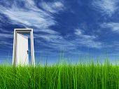 pic of clouds sky  - High resolution 3D white door opened in grass to a nice sky background with white clouds - JPG