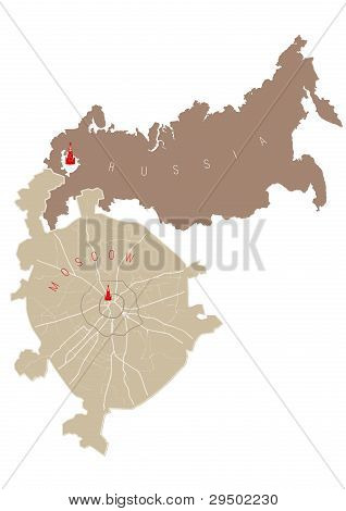 Russia and Moscow vector map
