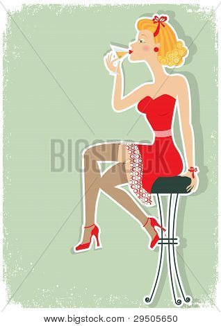 Petro Woman Is Sitting And Drinking Martini In Red Dress