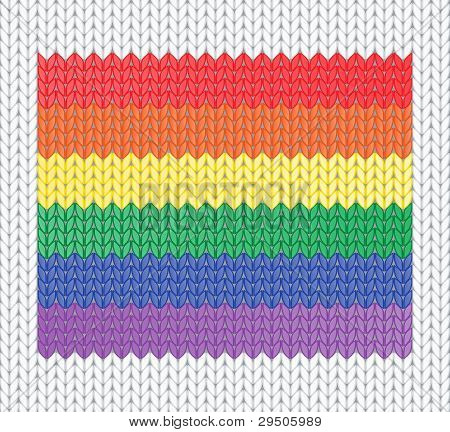 knitted rainbow flag