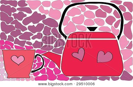 Tea-pot And Cup On Glass