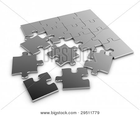 3D Illustration of a Jigsaw Puzzle