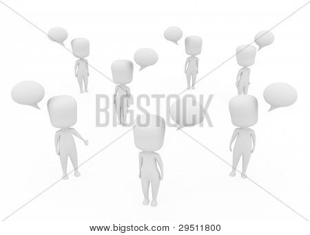 3D Illustration of White Men with Speech Bubbles